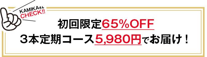初回限定65%OFF3本定期コース 5,980円でお届け!